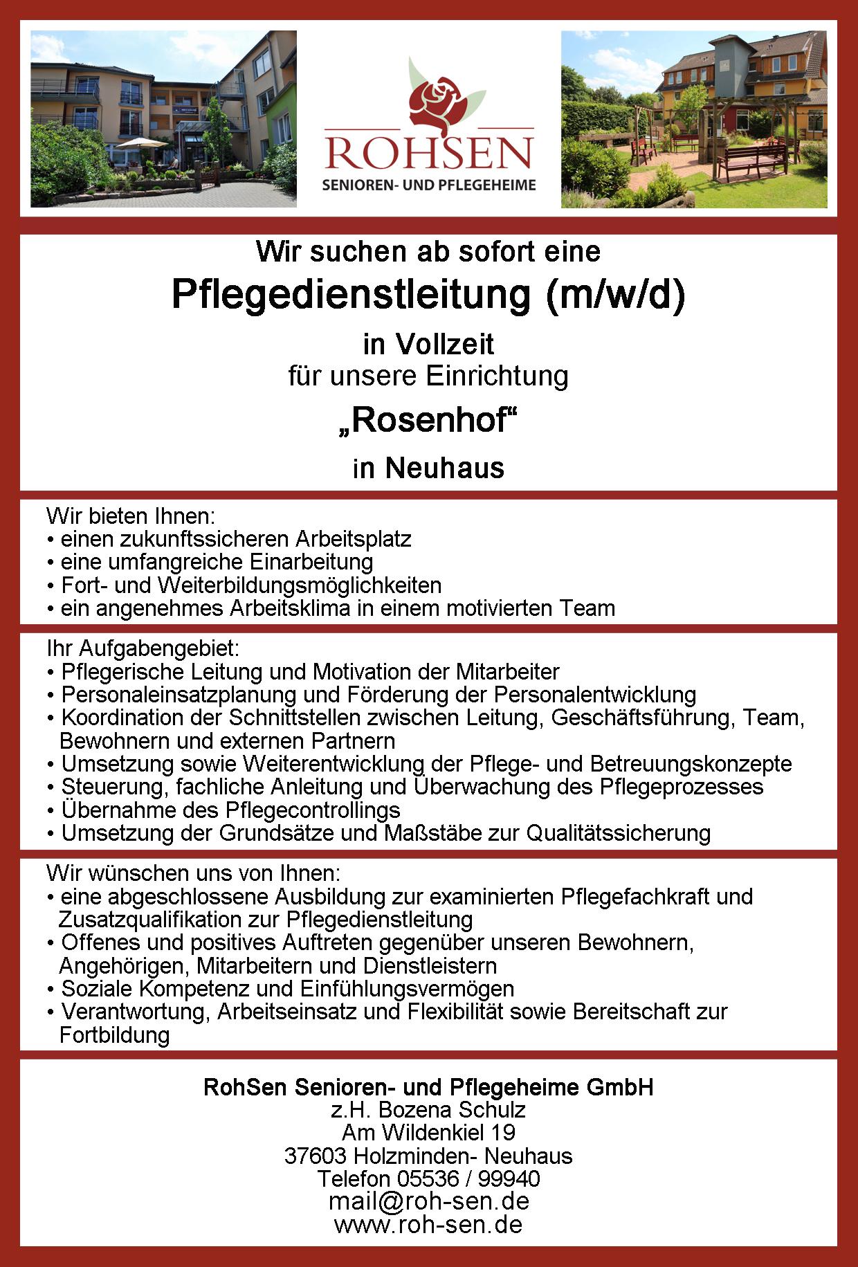 Stellenanzeige PDL RohSen   RohSen Senioren  und Pflegeheime GmbH ...